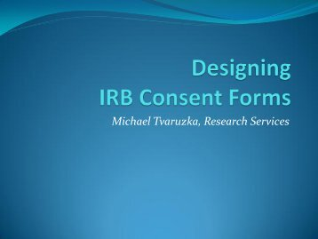 Designing IRB Consent Forms - University of Wisconsin-Stout