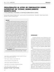 proliferação in vitro de fibrobastos sobre ... - Revista Sobrape