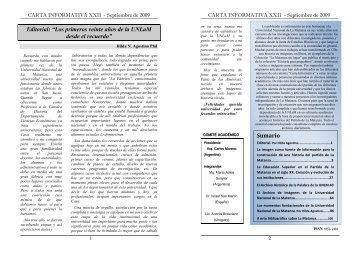 Carta Informativa 22 - Septiembre 2009 - Universidad Nacional de ...