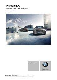 Den aktuella prislistan för BMW 5-serie Gran Turismo. (PDF, 226 kB).