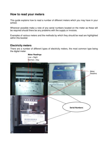How to read your meters (PDF format, 2mb) - Salford City Council