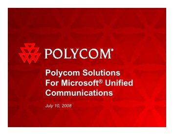 Polycom Solutions For Microsoft® Unified Communications - VSGi