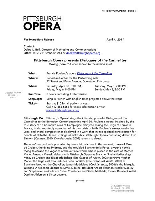 Pittsburgh Opera presents Dialogues of the Carmelites (PDF)