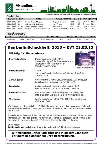 Das berlinScheckheft 2013 - V.V. Vertriebs-Vereinigung