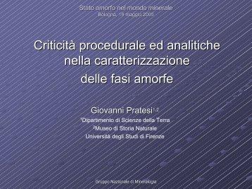Criticità procedurali ed analitiche nella caratterizzazione delle fasi ...