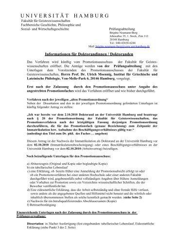 Für Doktoranden alter Ordnung - Universität Hamburg