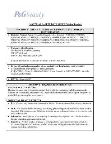 Procter and gamble canada msds sheets online poker md