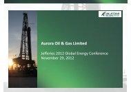 Aurora Oil & Gas Limited - Jefferies