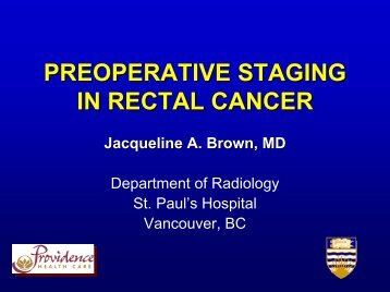 preoperative staging in rectal cancer - BC Cancer Agency