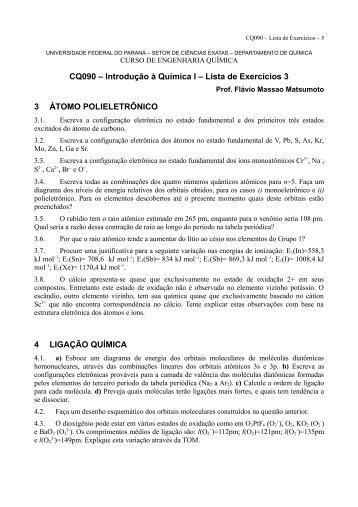Lista de Exercícios 3 - Departamento de Química - Universidade ...