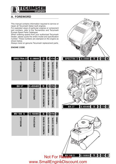 Tecumseh Europa Small Engine Discount