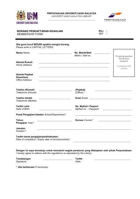 Borang Pendaftaran Keahlian Membership Form