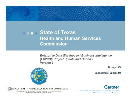 Gartner project update presentation (PDF) - Texas Health and