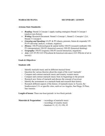 MARIACHI-MANIA SECONDARY LESSON ... - Outreach World