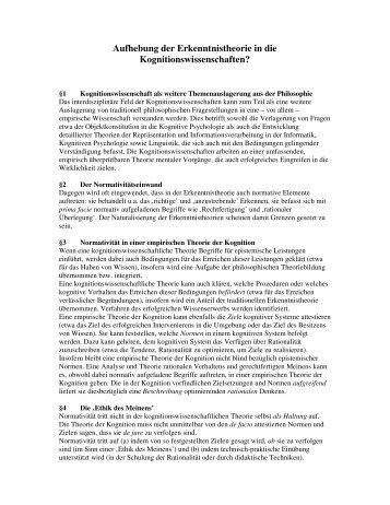 Aufhebung der Erkenntnistheorie in die ... - Bremer