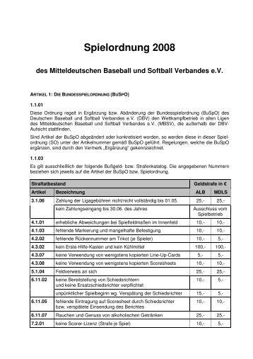 Spielordnung 2008 (SO) - Magdeburg Poor Pigs