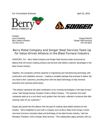 Berry Metal Company and Songer Steel Services Team Up for Value ...