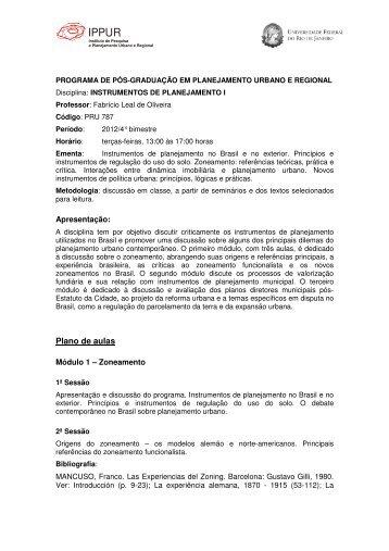 Plano de aulas - Ippur - UFRJ