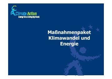 """Präsentation zum Maßnahmenpaket """"Klimawandel und ... - bvek"""