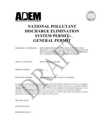 AL CSW GP - Working Draft - Alabama Department of Environmental ...