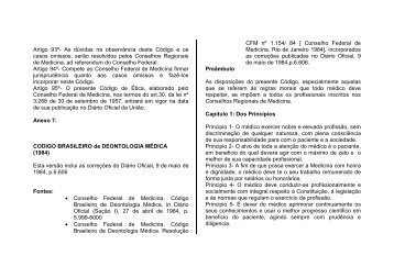 Código Brasileiro de Deontologia Médica(1984) - Conselho Federal ...
