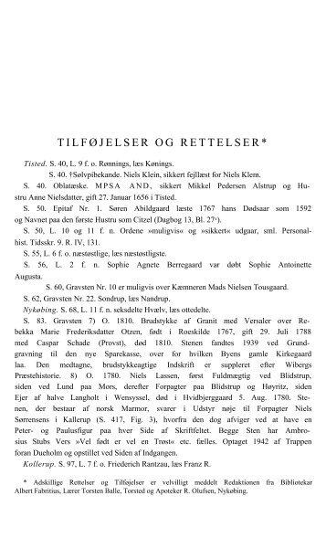 TILFØJELSER OG RETTELSER* - Danmarks Kirker - Nationalmuseet