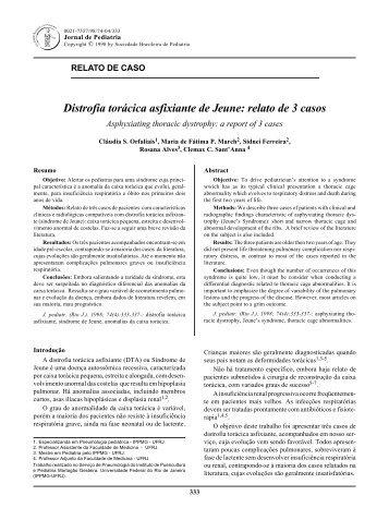 relato de 3 casos - Jornal de Pediatria