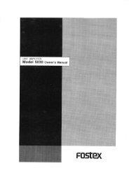 LINE AMPLIFIER Model 5030 Owner's Manual - Fostex