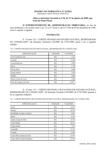 instrução normativa nº 43/2012