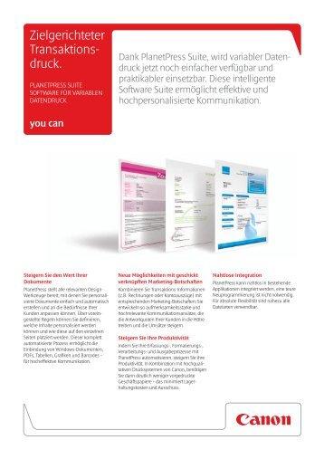 PlanetPress Suite PlanetPress_Broschuere_deutsch.pdf - canon.de