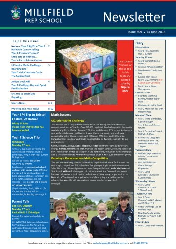 Newsletter - Millfield Prep School