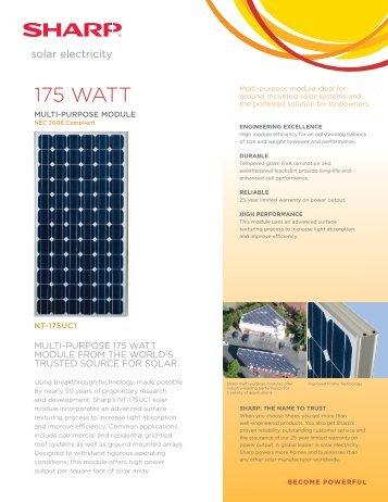 Suntech 175 Watt Stp175s 24 Ad Energy Matters