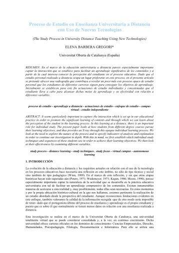 Proceso de Estudio en Enseñanza Universitaria a Distancia con ...