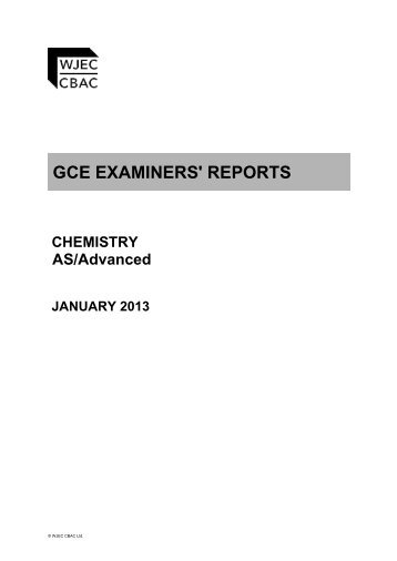 gce chemistry examiners report january 2013 wjec - Periodic Table A Level Wjec