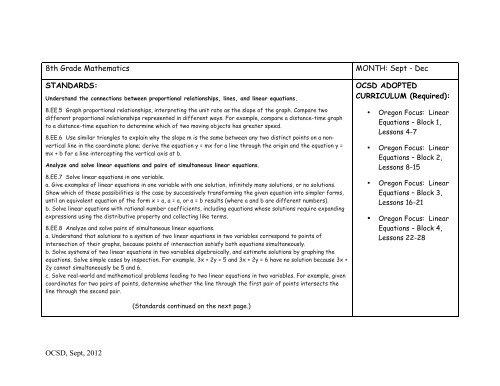 8th Grade Math Curriculum Map (PDF) - Oregon City School District