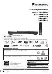 Operating Instructions Blu-ray Disc Player DMP-BD60 ... - Panasonic
