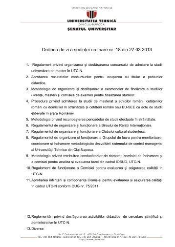 Ordinea De Zi A Sedintei Din 27 Martie 2013 - Universitatea Tehnică