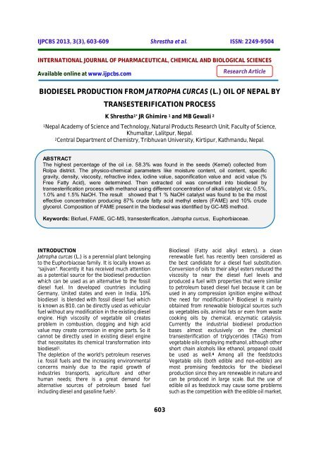Practical Application of Biofuels - Words | Report Example
