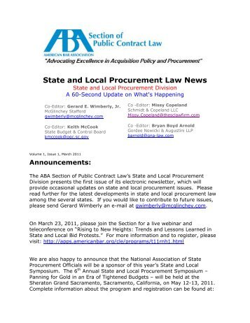 PCL State and Local Procurement Law News - PubKLaw