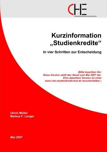 """Kurzinformation """"Studienkredite"""" - Centrum  für Hochschulentwicklung"""