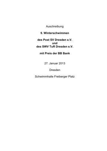 Auschreibung 9. Winterschwimmen des Post SV Dresden e.V. und ...