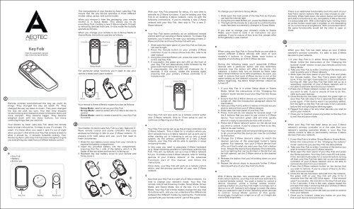 Aeon Labs DSA22-ZWUS Aeotec Z-Wave Key Fob Installation Manual