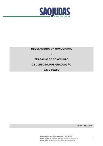 Regulamento da Monografia e Trabalho de Conclusão de Curso