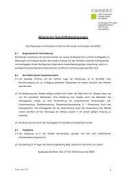 Allgemeine Geschäftsbedingungen - Forschungszentrum caesar