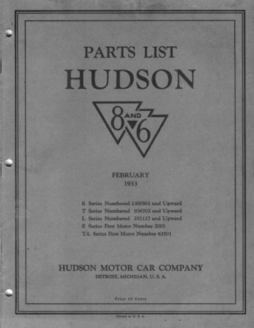 1933 Hudson Six and Eight Parts List - Hudson-Essex-Terraplane ...