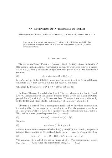 AN EXTENSION OF A THEOREM OF EULER 1. Introduction The ...