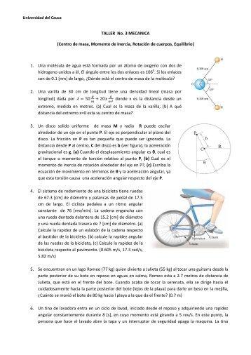 TALLER No. 3 MECANICA - Universidad del Cauca
