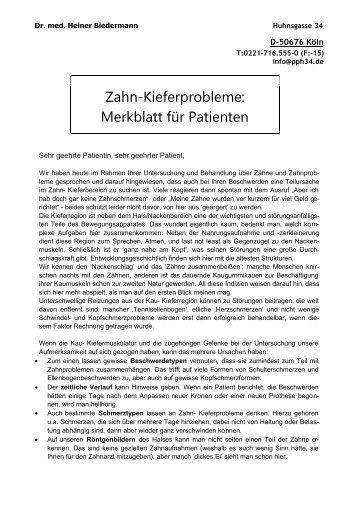 Zahn-Kieferprobleme: Merkblatt für Patienten - Dr. Biedermann