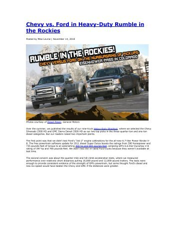 Chevy vs. Ford in Heavy-Duty Rumble in the Rockies - agedstock.com