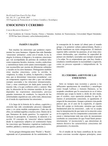 emociones y cerebro - Real Academia de Ciencias Exactas, Físicas ...